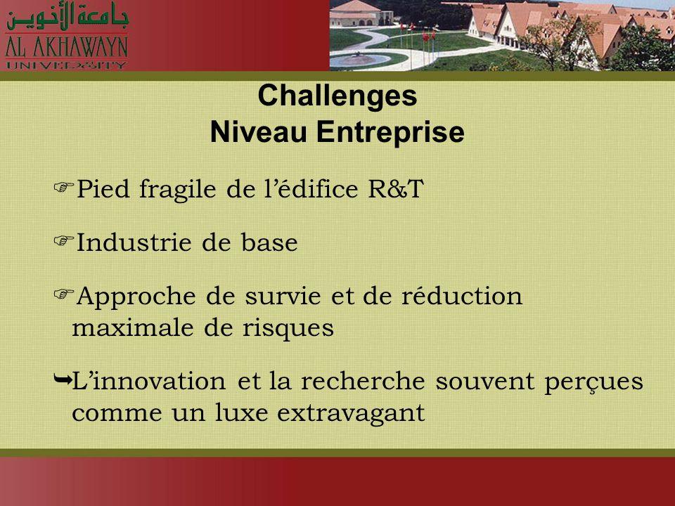 Challenges Niveau Entreprise Pied fragile de lédifice R&T Industrie de base Approche de survie et de réduction maximale de risques Linnovation et la recherche souvent perçues comme un luxe extravagant