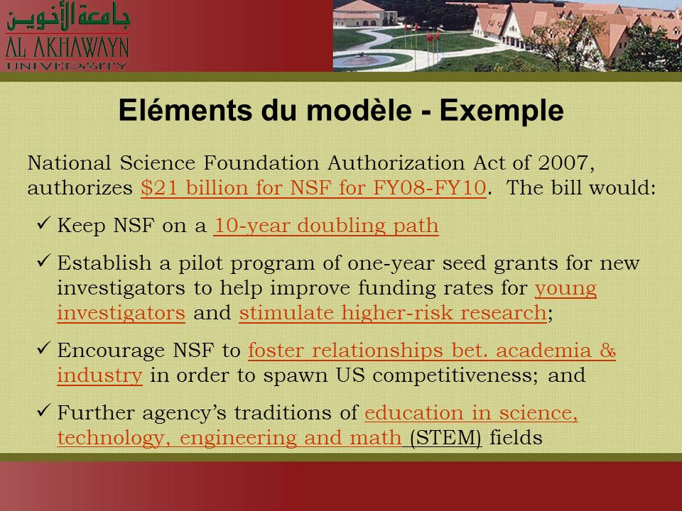 Eléments du modèle - Exemple National Science Foundation Authorization Act of 2007, authorizes $21 billion for NSF for FY08-FY10. The bill would: Keep