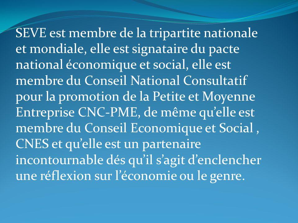 SEVE est membre de la tripartite nationale et mondiale, elle est signataire du pacte national économique et social, elle est membre du Conseil Nationa
