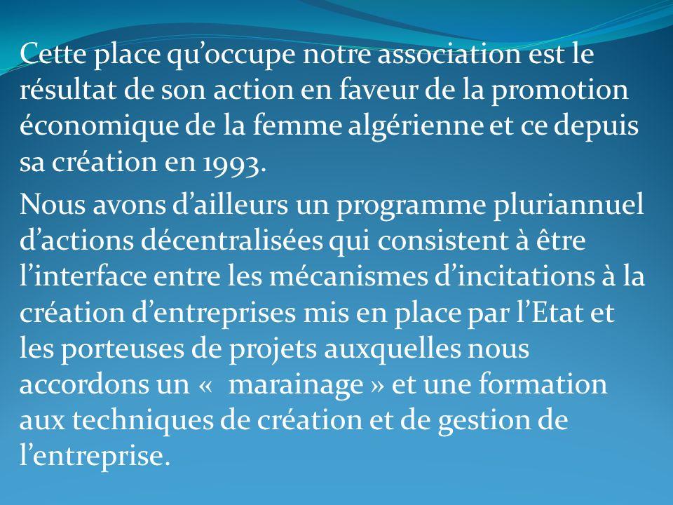 Cette place quoccupe notre association est le résultat de son action en faveur de la promotion économique de la femme algérienne et ce depuis sa créat