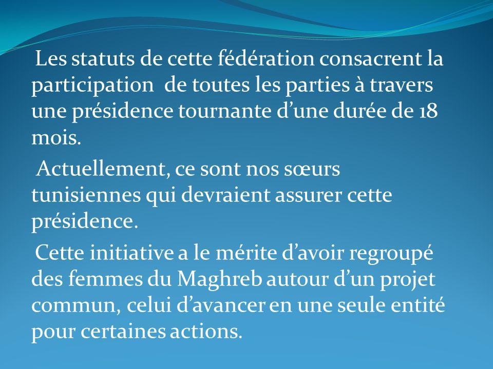 Les statuts de cette fédération consacrent la participation de toutes les parties à travers une présidence tournante dune durée de 18 mois. Actuelleme
