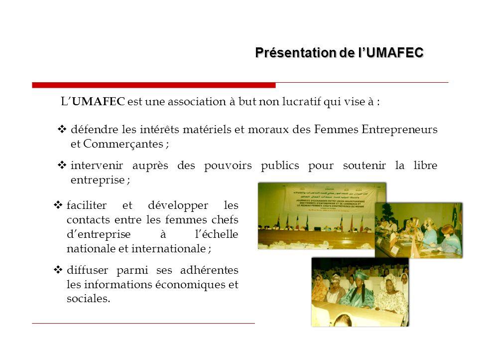 Présentation de lUMAFEC L UMAFEC, ayant été pour nous un challenge et un défi à relever, il fallait agir rapidement dans le sens de la réalisation des objectifs que nous nous sommes assignés, surtout quun climat de scepticisme commençait à régner et menaçait datteindre nos propres adhérentes.