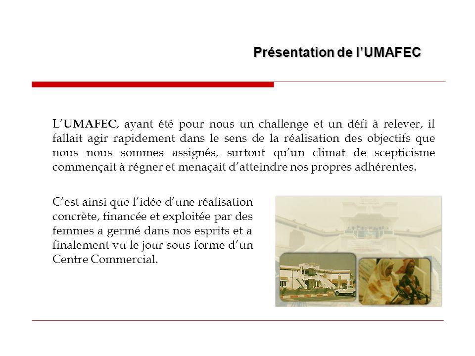 L UMAFEC a déjà réalisé les projets suivants : Construction dun Centre Commercial Chinguitty, dont la surface totale couverte est de 8.240 m 2, pour un investissement total de 436 Millions dOuguiya.