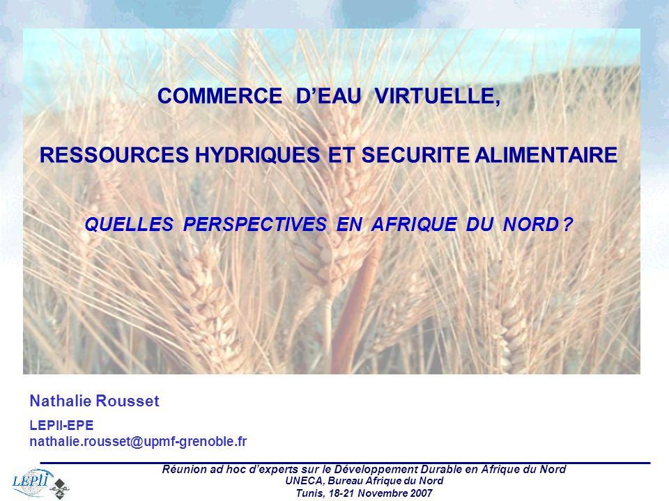 Réunion ad hoc dexperts sur le Développement Durable en Afrique du Nord UNECA, Bureau Afrique du Nord Tunis, 18-21 Novembre 2007 Nathalie Rousset LEPII-EPE nathalie.rousset@upmf-grenoble.fr COMMERCE DEAU VIRTUELLE, RESSOURCES HYDRIQUES ET SECURITE ALIMENTAIRE QUELLES PERSPECTIVES EN AFRIQUE DU NORD