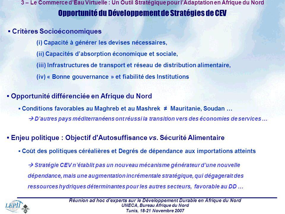 Réunion ad hoc dexperts sur le Développement Durable en Afrique du Nord UNECA, Bureau Afrique du Nord Tunis, 18-21 Novembre 2007 3 – Le Commerce dEau Virtuelle : Un Outil Stratégique pour lAdaptation en Afrique du Nord Opportunité du Développement de Stratégies de CEV Critères Socioéconomiques (i) Capacité à générer les devises nécessaires, (ii) Capacités dabsorption économique et sociale, (iii) Infrastructures de transport et réseau de distribution alimentaire, (iv) « Bonne gouvernance » et fiabilité des Institutions Opportunité différenciée en Afrique du Nord Conditions favorables au Maghreb et au Mashrek Mauritanie, Soudan … Dautres pays méditerranéens ont réussi la transition vers des économies de services … Enjeu politique : Objectif d Autosuffisance vs.