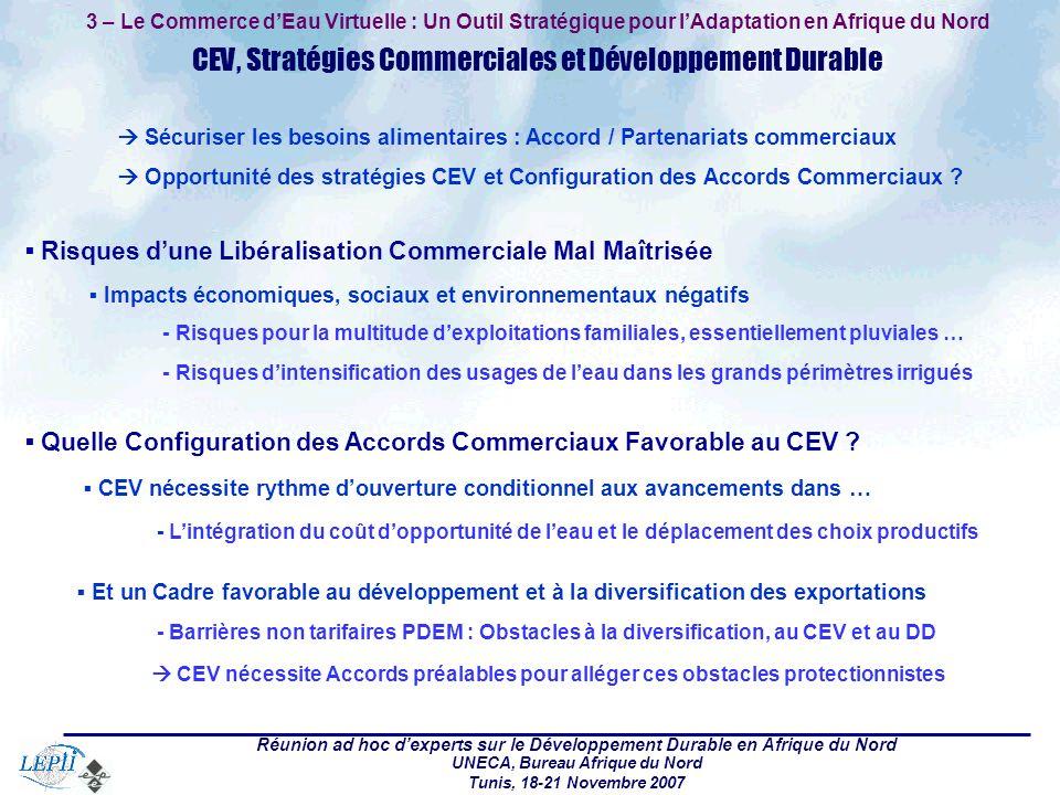 Réunion ad hoc dexperts sur le Développement Durable en Afrique du Nord UNECA, Bureau Afrique du Nord Tunis, 18-21 Novembre 2007 3 – Le Commerce dEau Virtuelle : Un Outil Stratégique pour lAdaptation en Afrique du Nord CEV, Stratégies Commerciales et Développement Durable Sécuriser les besoins alimentaires : Accord / Partenariats commerciaux Opportunité des stratégies CEV et Configuration des Accords Commerciaux .