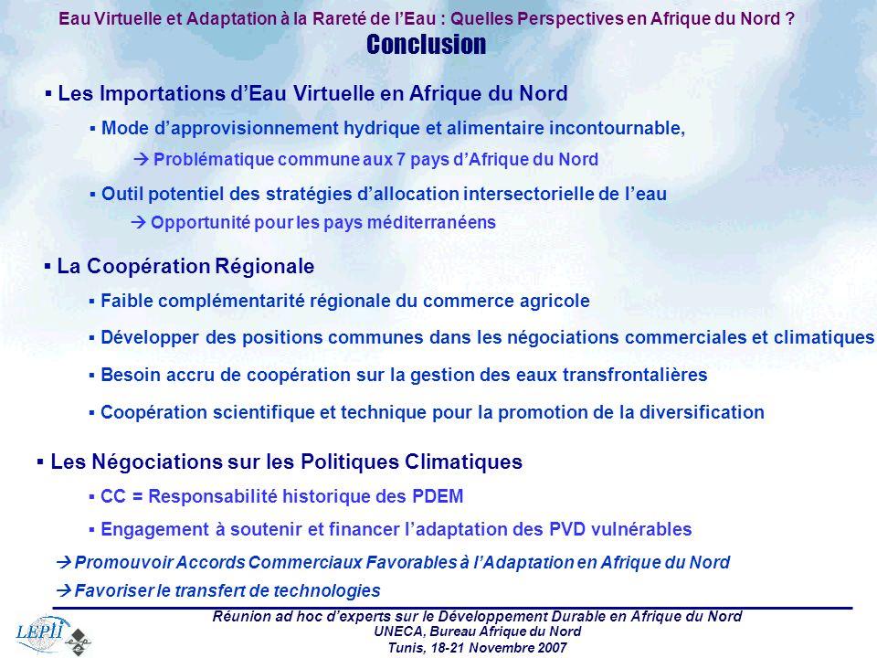 Réunion ad hoc dexperts sur le Développement Durable en Afrique du Nord UNECA, Bureau Afrique du Nord Tunis, 18-21 Novembre 2007 Eau Virtuelle et Adap