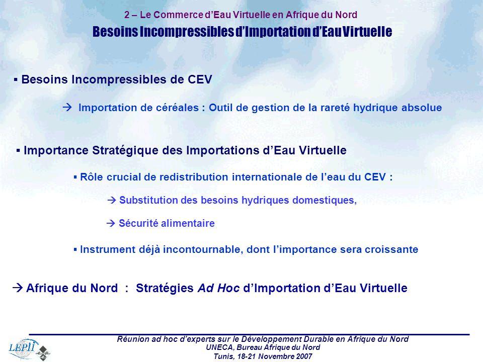 Réunion ad hoc dexperts sur le Développement Durable en Afrique du Nord UNECA, Bureau Afrique du Nord Tunis, 18-21 Novembre 2007 2 – Le Commerce dEau