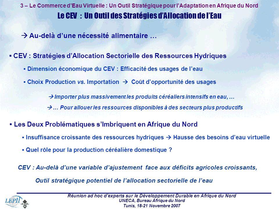 Réunion ad hoc dexperts sur le Développement Durable en Afrique du Nord UNECA, Bureau Afrique du Nord Tunis, 18-21 Novembre 2007 3 – Le Commerce dEau Virtuelle : Un Outil Stratégique pour lAdaptation en Afrique du Nord Le CEV : Un Outil des Stratégies dAllocation de lEau CEV : Stratégies dAllocation Sectorielle des Ressources Hydriques Dimension économique du CEV : Efficacité des usages de leau Choix Production vs.