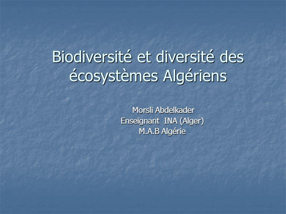 Biodiversité et diversité des écosystèmes Algériens Morsli Abdelkader Morsli Abdelkader Enseignant INA (Alger) M.A.B Algérie