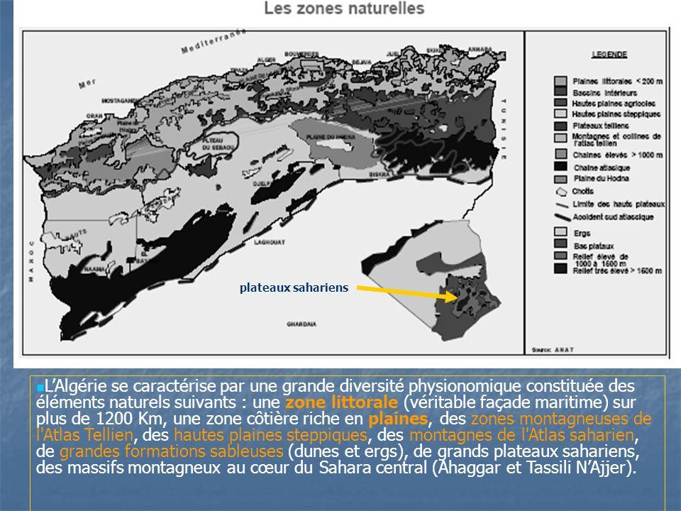 LAlgérie se caractérise par une grande diversité physionomique constituée des éléments naturels suivants : une zone littorale (véritable façade mariti
