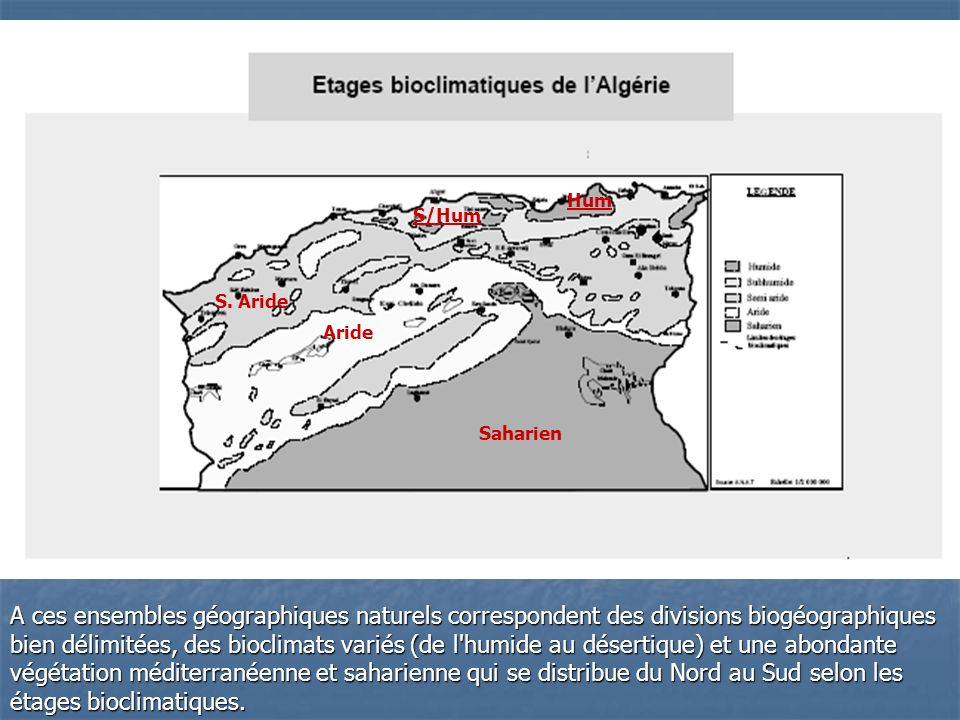 A ces ensembles géographiques naturels correspondent des divisions biogéographiques bien délimitées, des bioclimats variés (de l'humide au désertique)