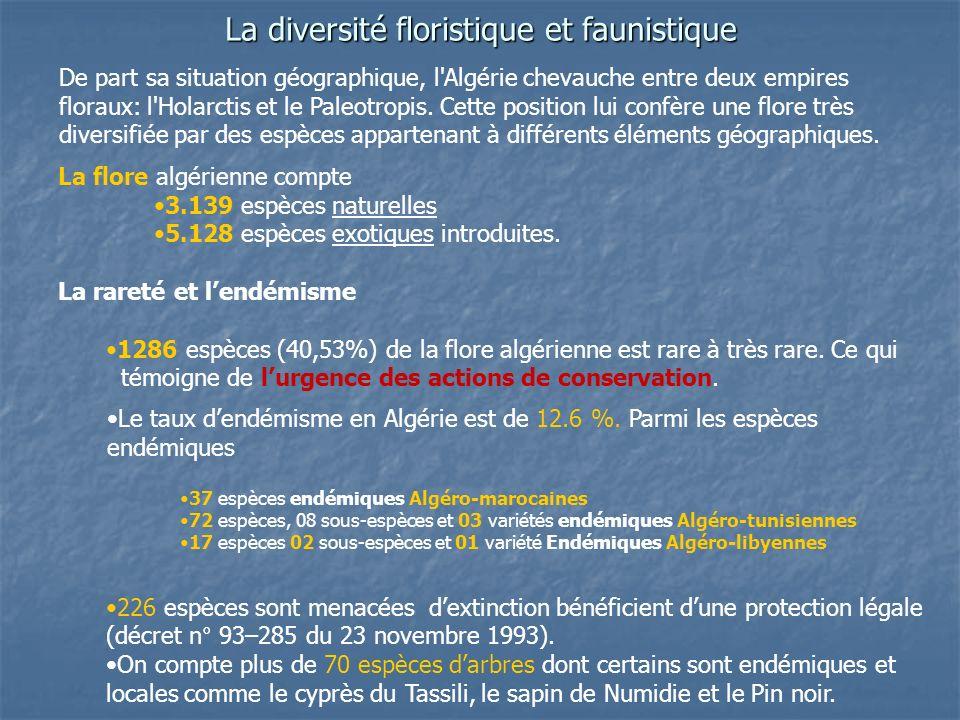La diversité floristique et faunistique La flore algérienne compte 3.139 espèces naturelles 5.128 espèces exotiques introduites. La rareté et lendémis