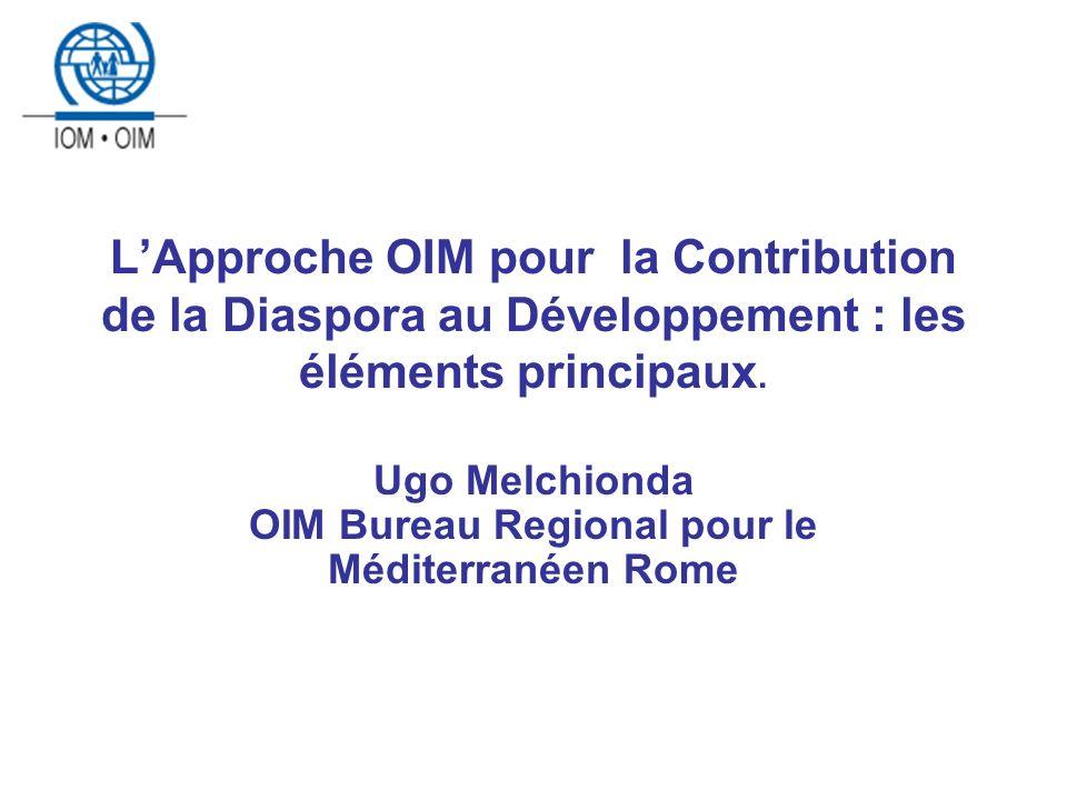 LApproche OIM pour la Contribution de la Diaspora au Développement : les éléments principaux.