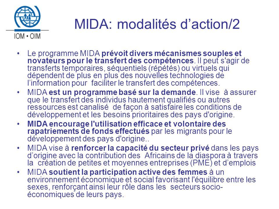 MIDA: modalités daction/2 Le programme MIDA prévoit divers mécanismes souples et novateurs pour le transfert des compétences.