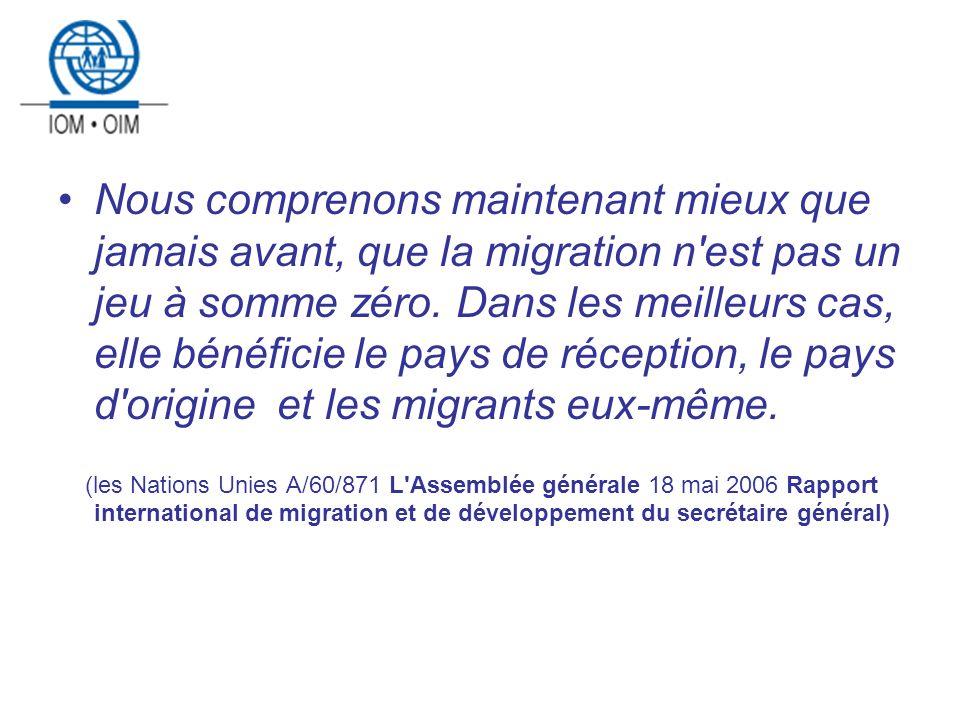 Résumé 4 conditions pour que la migration internationale peux gagner les trois victoires Lexpérience de lOIM dans le domaine des programmes de migration pour le développement et le programme MIDA Le Projet Migressources Le facteurs dobstacle et de facilitation, les recommandations