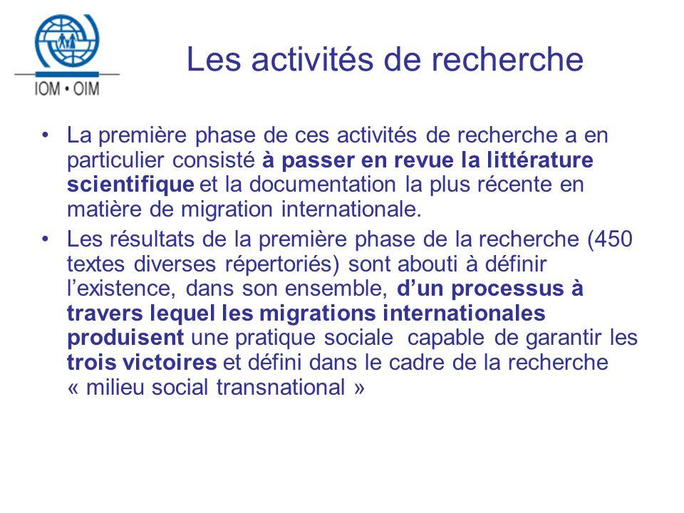 Les activités de recherche La première phase de ces activités de recherche a en particulier consisté à passer en revue la littérature scientifique et la documentation la plus récente en matière de migration internationale.