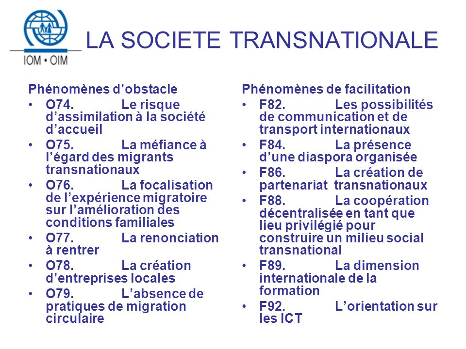 LA SOCIETE TRANSNATIONALE Phénomènes dobstacle O74.