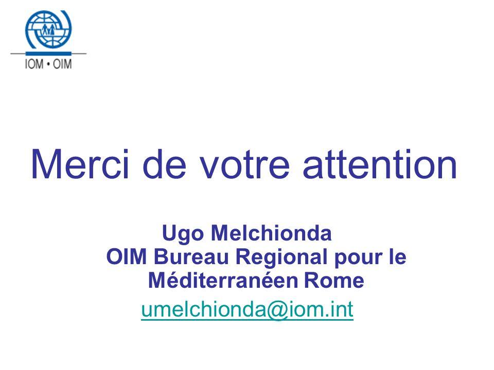 Merci de votre attention Ugo Melchionda OIM Bureau Regional pour le Méditerranéen Rome umelchionda@iom.int