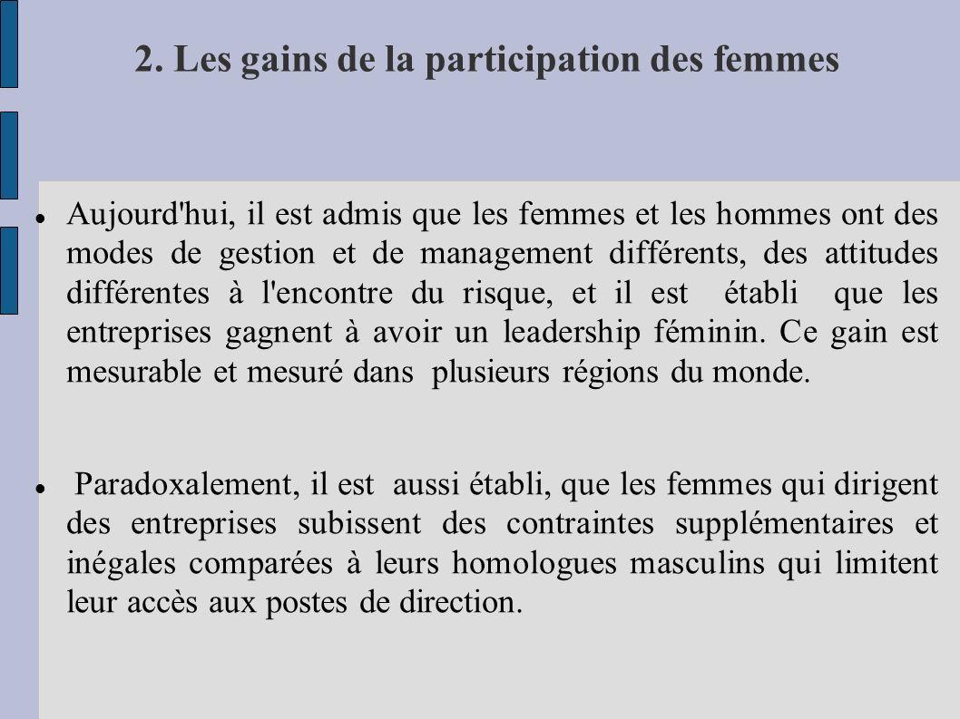 2. Les gains de la participation des femmes Aujourd'hui, il est admis que les femmes et les hommes ont des modes de gestion et de management différent