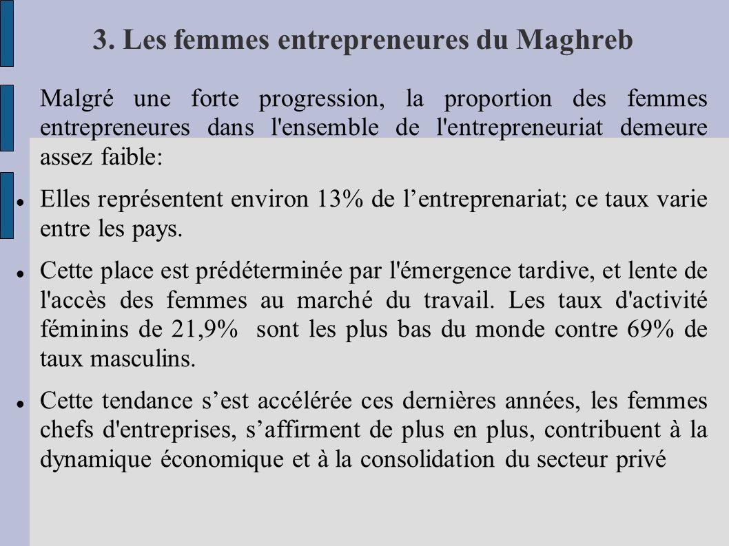 3. Les femmes entrepreneures du Maghreb Malgré une forte progression, la proportion des femmes entrepreneures dans l'ensemble de l'entrepreneuriat dem