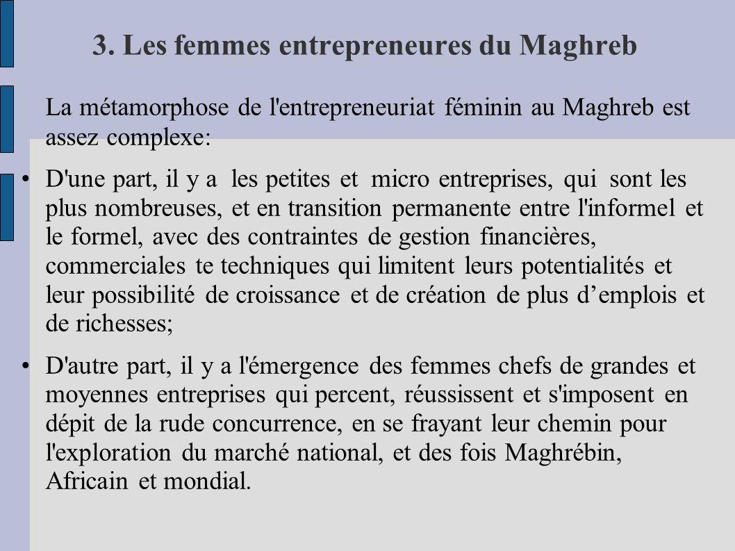 3. Les femmes entrepreneures du Maghreb La métamorphose de l'entrepreneuriat féminin au Maghreb est assez complexe: D'une part, il y a les petites et