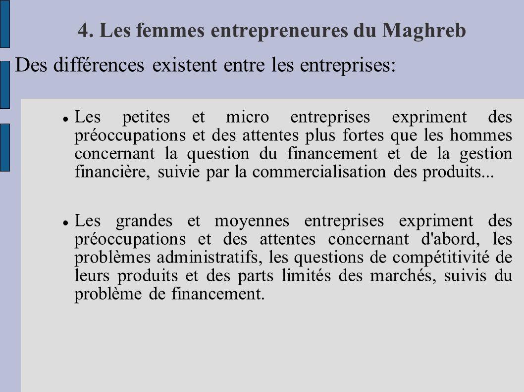 4. Les femmes entrepreneures du Maghreb Des différences existent entre les entreprises: Les petites et micro entreprises expriment des préoccupations