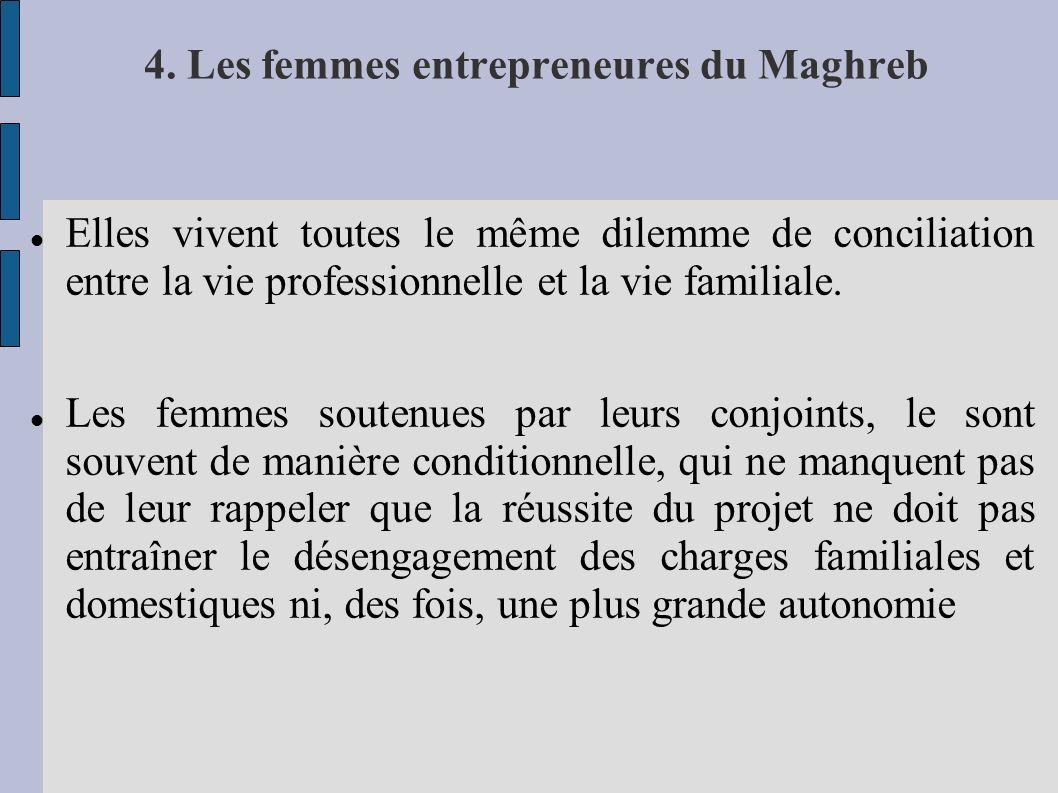 4. Les femmes entrepreneures du Maghreb Elles vivent toutes le même dilemme de conciliation entre la vie professionnelle et la vie familiale. Les femm