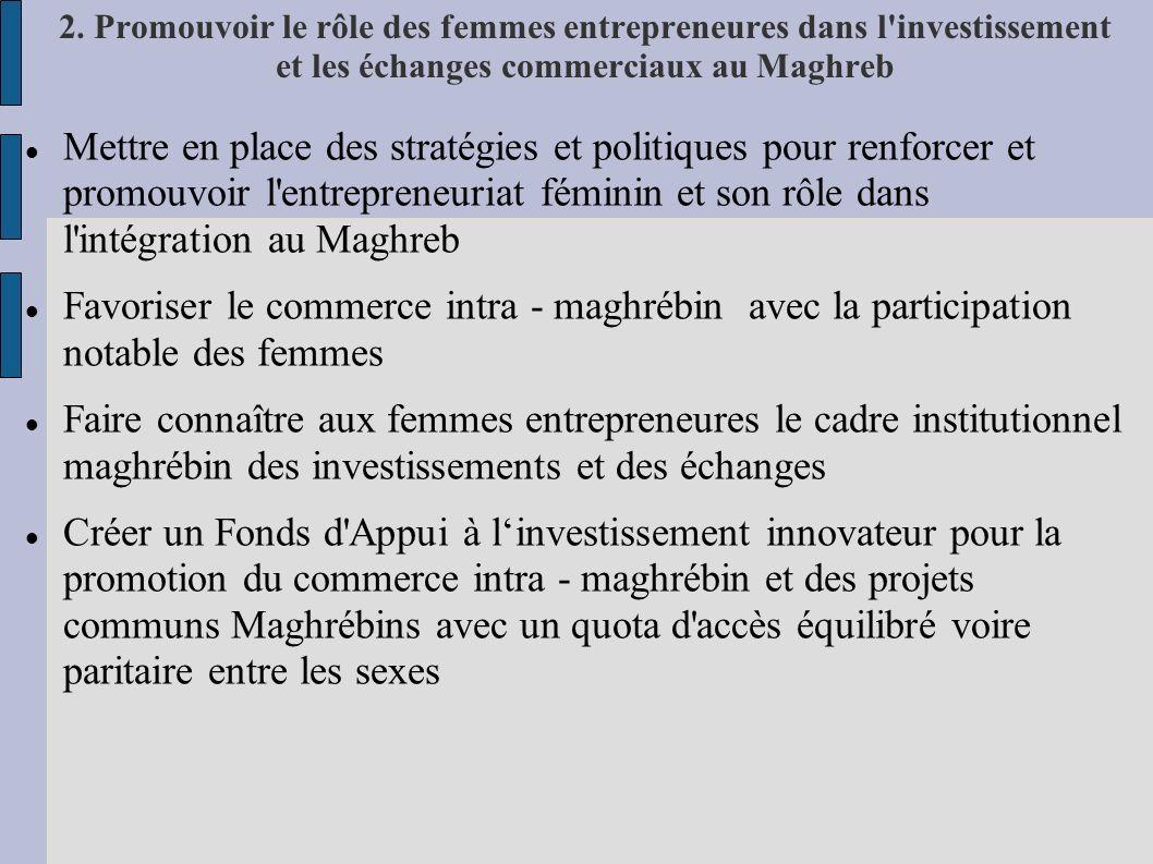 2. Promouvoir le rôle des femmes entrepreneures dans l'investissement et les échanges commerciaux au Maghreb Mettre en place des stratégies et politiq