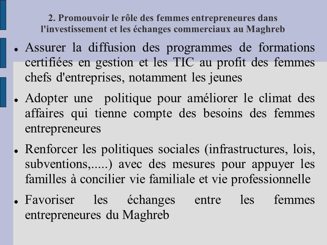 2. Promouvoir le rôle des femmes entrepreneures dans l'investissement et les échanges commerciaux au Maghreb Assurer la diffusion des programmes de fo