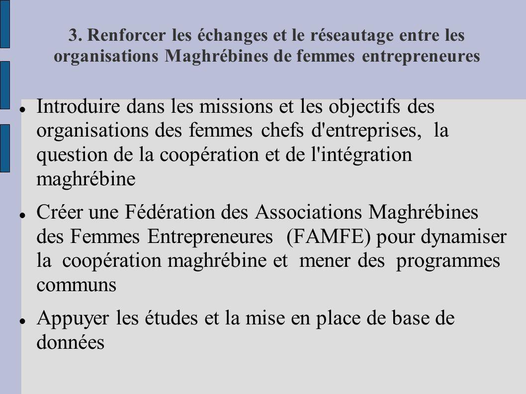 3. Renforcer les échanges et le réseautage entre les organisations Maghrébines de femmes entrepreneures Introduire dans les missions et les objectifs