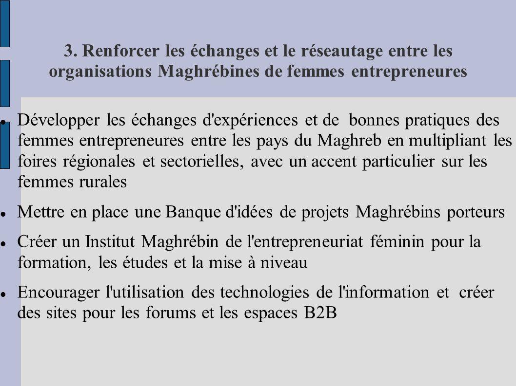 3. Renforcer les échanges et le réseautage entre les organisations Maghrébines de femmes entrepreneures Développer les échanges d'expériences et de bo