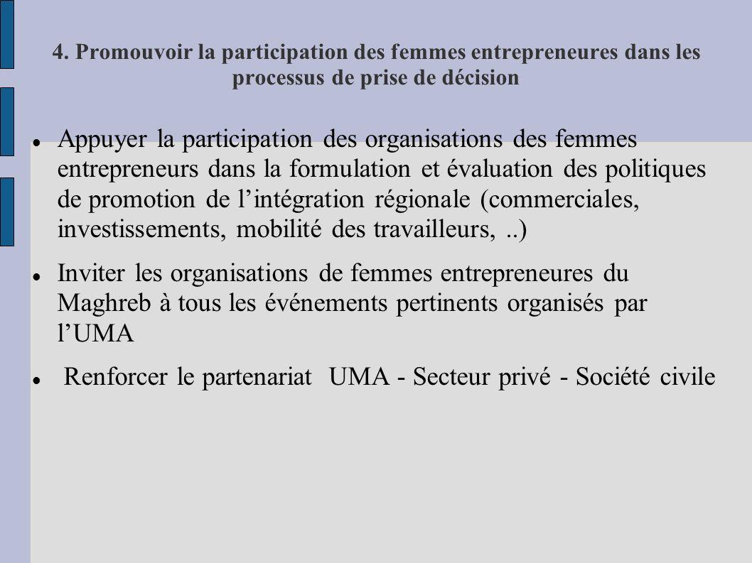 4. Promouvoir la participation des femmes entrepreneures dans les processus de prise de décision Appuyer la participation des organisations des femmes