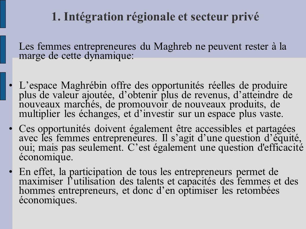 1. Intégration régionale et secteur privé Les femmes entrepreneures du Maghreb ne peuvent rester à la marge de cette dynamique: Lespace Maghrébin offr