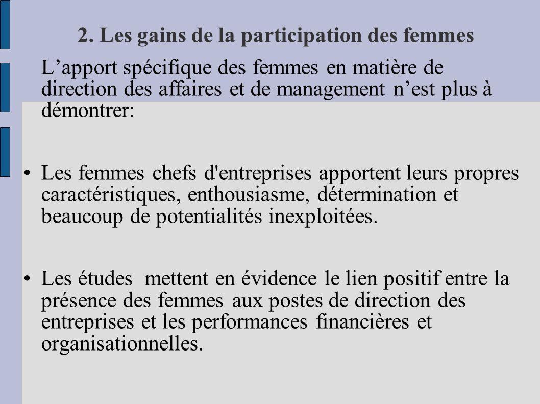 2. Les gains de la participation des femmes Lapport spécifique des femmes en matière de direction des affaires et de management nest plus à démontrer: