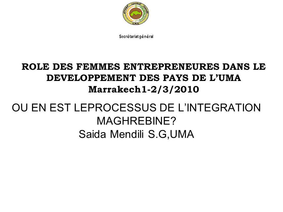 OU EN EST LEPROCESSUS DE LINTEGRATION MAGHREBINE? Saida Mendili S.G,UMA ROLE DES FEMMES ENTREPRENEURES DANS LE DEVELOPPEMENT DES PAYS DE LUMA Marrakec