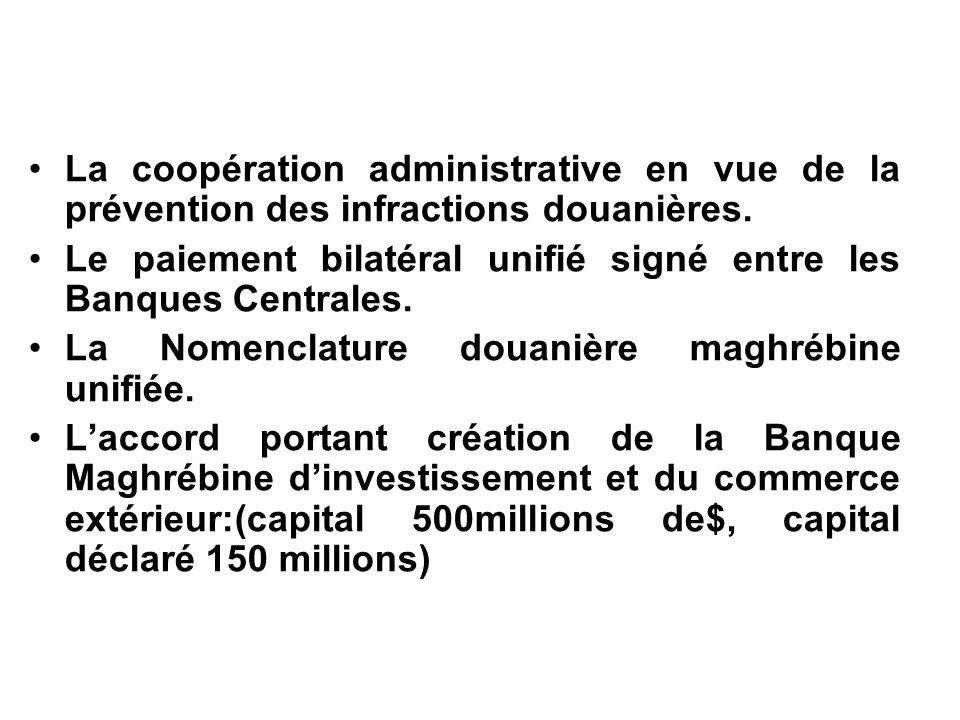 La coopération administrative en vue de la prévention des infractions douanières. Le paiement bilatéral unifié signé entre les Banques Centrales. La N