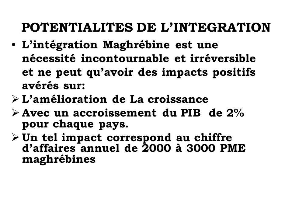 POTENTIALITES DE LINTEGRATION Lintégration Maghrébine est une nécessité incontournable et irréversible et ne peut quavoir des impacts positifs avérés
