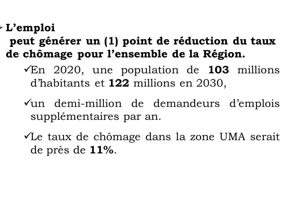 Lemploi peut générer un (1) point de réduction du taux de chômage pour lensemble de la Région. En 2020, une population de 103 millions dhabitants et 1