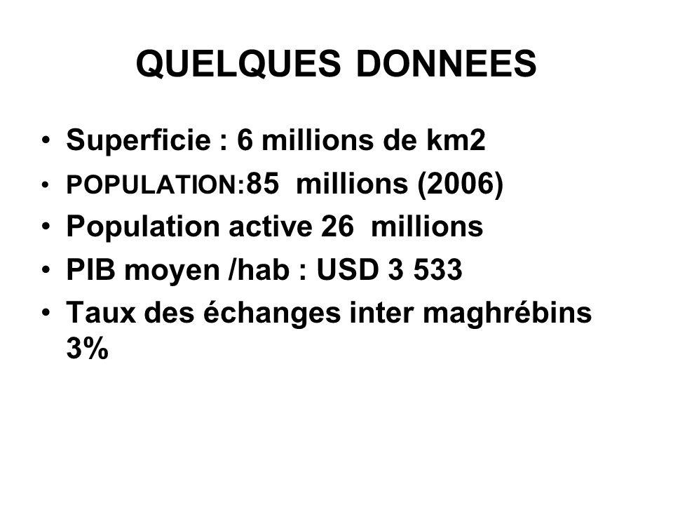QUELQUES DONNEES Superficie : 6 millions de km2 POPULATION: 85 millions (2006) Population active 26 millions PIB moyen /hab : USD 3 533 Taux des échan
