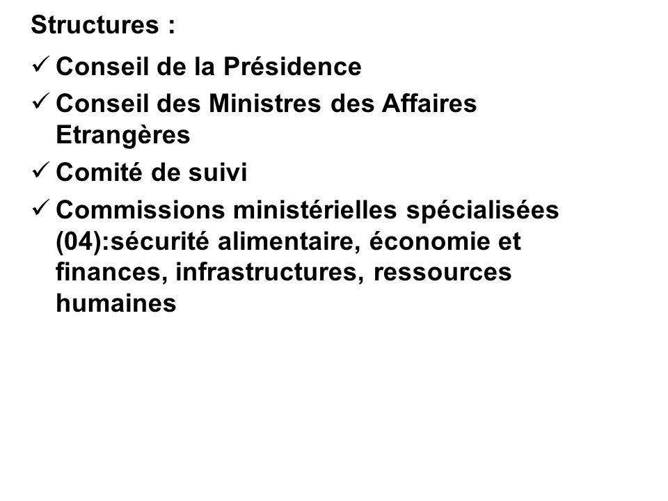 Structures : Conseil de la Présidence Conseil des Ministres des Affaires Etrangères Comité de suivi Commissions ministérielles spécialisées (04):sécur