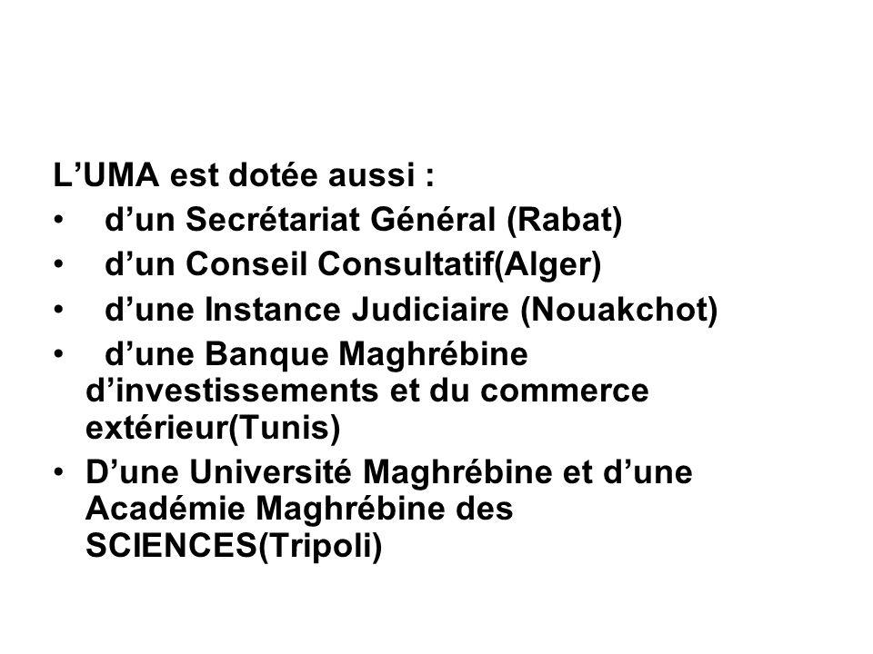 LUMA est dotée aussi : dun Secrétariat Général (Rabat) dun Conseil Consultatif(Alger) dune Instance Judiciaire (Nouakchot) dune Banque Maghrébine dinv