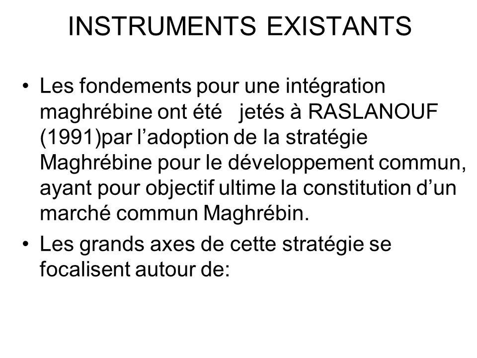 INSTRUMENTS EXISTANTS Les fondements pour une intégration maghrébine ont été jetés à RASLANOUF (1991)par ladoption de la stratégie Maghrébine pour le