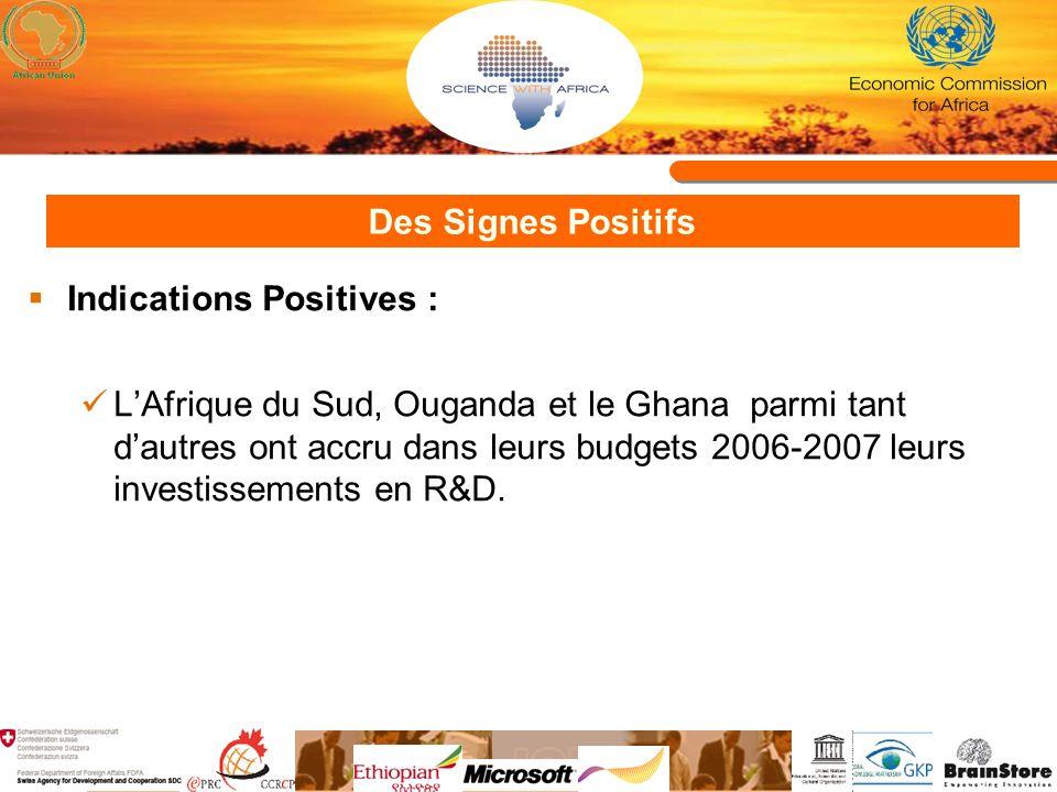 Des Signes Positifs Indications Positives : LAfrique du Sud, Ouganda et le Ghana parmi tant dautres ont accru dans leurs budgets 2006-2007 leurs investissements en R&D.