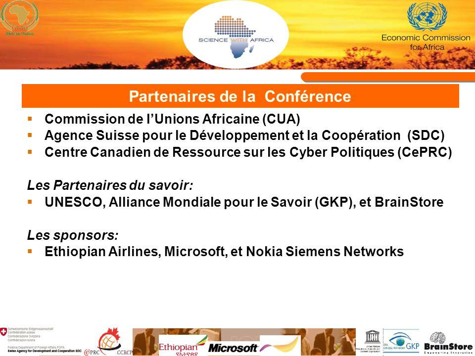 Partenaires de la Conférence Commission de lUnions Africaine (CUA) Agence Suisse pour le Développement et la Coopération (SDC) Centre Canadien de Ress