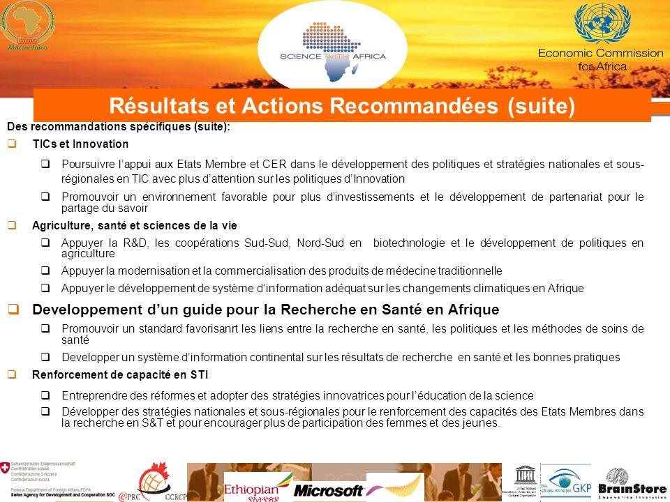 Résultats et Actions Recommandées (suite) Des recommandations spécifiques (suite): TICs et Innovation Poursuivre lappui aux Etats Membre et CER dans l