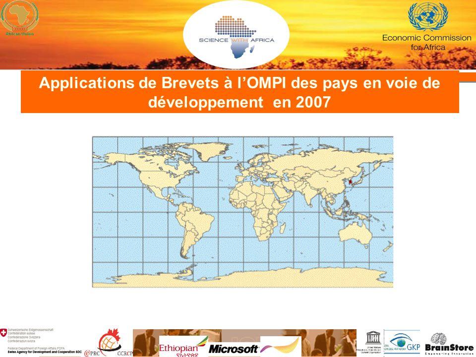 Applications de Brevets à lOMPI des pays en voie de développement en 2007