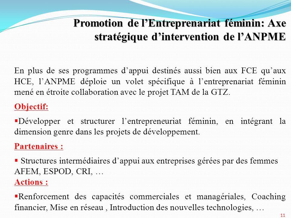 11 Promotion de lEntreprenariat féminin: Axe stratégique dintervention de lANPME En plus de ses programmes dappui destinés aussi bien aux FCE quaux HC