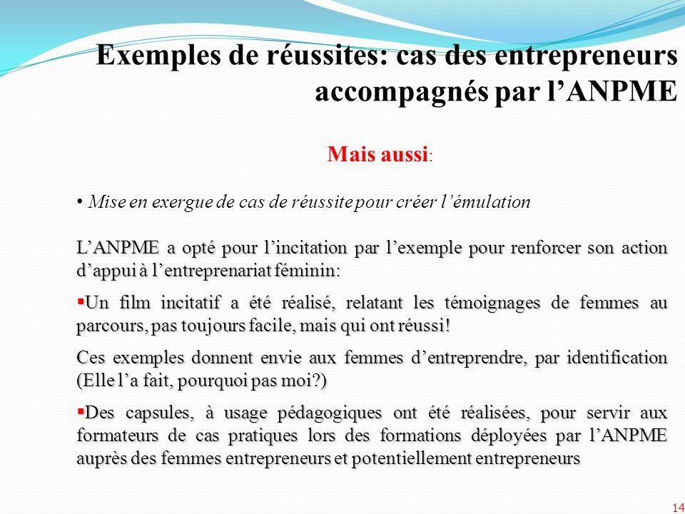 Exemples de réussites: cas des entrepreneurs accompagnés par lANPME 14 Mais aussi : Mise en exergue de cas de réussite pour créer lémulation LANPME a