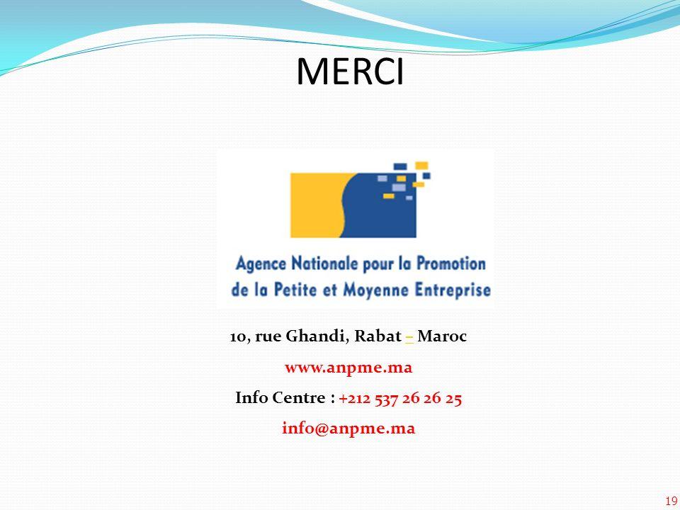 19 MERCI 10, rue Ghandi, Rabat – Maroc– www.anpme.ma Info Centre : +212 537 26 26 25 info@anpme.ma